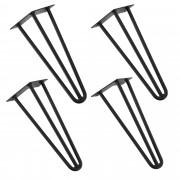 [en.casa]® Hairpin leg hajtűláb 35 cm stílusos asztalláb 4 darabos szett fekete háromágú