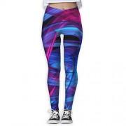 SESY Pantalones Deportivos para Yoga con línea Azul y Rosa, para Mujer