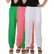 Culture the Dignity Women's Rayon Solid Casual Pants Office Trousers With Side Pockets Combo of 3 - Green - Baby Pink - White - C_RPT_GP2W - Pack of 3 - Free Size