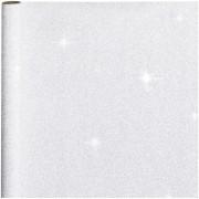 Bellatio Decorations 2x stuks cadeaupapier/inpakpapier zilver met glitters 400 x 70 cm