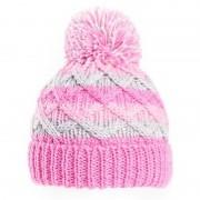 Merkloos Gebreide winter muts roze/grijs met pompon voor baby
