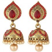 Jewels Gehna Abstract Gold Plated Traditional Antique Fashion Designer Jhumki Jhumka Earring Set For Women Girls