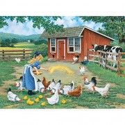 Bits and Pieces - 300 Piece Jigsaw Puzzle - Gather Round Chickens on the Farm - by Artist John Sloane - 300 pc Jigsaw