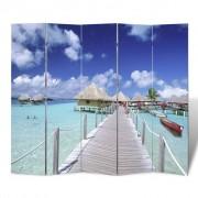vidaXL Paravan s potlačou pláž, rozmery 200 x 180