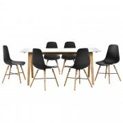 [en.casa]® Dizajnový bambusový jedálenský stôl so 6 čiernymi stoličkami
