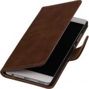 Bruin Hout booktype wallet cover hoesje voor Huawei Honor Y6 / 4A