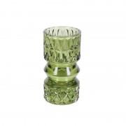 Suport pentru lumanare sticla verde Trimar Stencil 13.7 cm