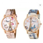 Women Wrist Watch combo Of 2 Pic (Paris Eiffel Tower Pink Blue ) By 5star 6 MONTH WARRANTY