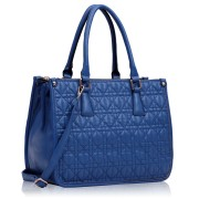 Kabelka LS00215A - Blue Three Zipper Quilted Tote