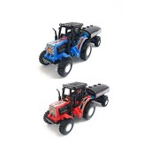 Combo Toys of 2 Set of Tractor with Tanker   Toy for Kids   Show Piece   Miniature/Model Tractor  Pull Back and Go   Blue and Red Color  Value Pack (Set of 2 Tractors)