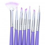 7pcs Pintura Del Arte Del Clavo Del Cepillo Manicura Nail Art Pen Púrpura
