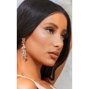 PrettyLittleThing Boucles d'oreilles dorées à slogan baby en lettres gothiques, Doré - One Size