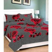craftwell cotton red flowers on grey base double bedsheet with 2 pillow covers
