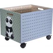 Kist op wieltjes voor kinderen - houten kist - opbergkist - kist met leuke dierenprint - opberger - speelgoed - panda - 39X30X31CM