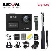 ?Stock! SJCAM SJ8 Plus 4K WiFi Cámara deportiva impermeable Anti vibración doble pantalla táctil 8 * Zoom Digital WiFi control remoto acción DV(#SJ8Plus Negro)(#Option 2)