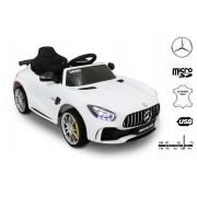 Mașinuță electrică pentru copii Mercedes-Benz GTR, Albă, Licență Originală, Cu Baterii, Uși care se deschid, Scaun din Piele, 2x motoare, Baterie 12V, Telecomandă 2.4 Ghz, roți ușoare EVA, pornire Lină