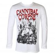 tričko pánské s dlouhým rukávem CANNIBAL CORPSE - PILE OF SKULLS 2018 - White - PLASTIC HEAD - KU065