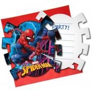 Marvel 12x Marvel Spiderman feestartikelen uitnodigingen 7 cm papier/karton