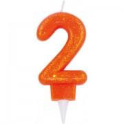 Lumanare cifra 2 glitter portocaliu