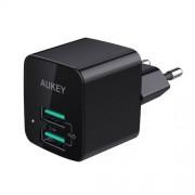 Incarcator de perete Aukey PA-U32, 2 sloturi USB 2,4A, negru, conectori priza pliabili