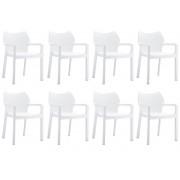 24Designs Set 8 Tuinstoelen Diva Stapelbaar - Wit