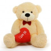 3.5 feet big light brown teddy bear with red I Love You Heart