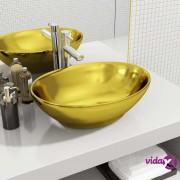 vidaXL Umivaonik 40 x 33 x 13,5 cm keramički zlatni