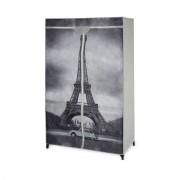[neu.holz]® Ruhásszekrény mobil gardrób 156 x 87 x 46 cm textil tároló szekrény Eiffel-torony minta