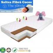 Saltea pentru Bebelusi TiBebe Vise Placute, 120x60x8, Fibra de Cocos, Husa Bumbac 100% Antialergica Lavabila, Alb
