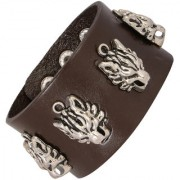 Tiger Head Funky 100 Genuine Handcrafted Rhodium Chocolate Brown Adjustable Leather Bracelet Boys