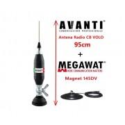 Antena Radio CB AVANTI Volo 95cm cu Magnet Megawat 145DV prindere fluture
