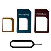 Sketchfab 5 in 1 Metal Nano SIM Card to Micro Standard Adapter Converter Set - Assorted Color