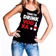 Bellatio Decorations Time to drink Vodka tekst tanktop / mouwloos shirt zwart dames