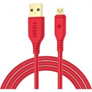 Tizum XL- 6.5 Feet Gold Plated Micro-USB to USB Cable - High Speed Quick Charge 2.4 Amp Data Sync (Red)