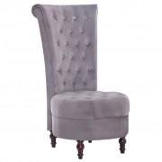 vidaXL Krzesło z wysokim oparciem, szare, aksamitne