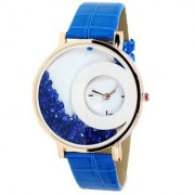 Ansh Max-Re Round Dial Blue Leather Strap Analog Watch for women