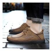 Moda Verano suela antideslizante suave cuero Ropa casual hombre zapatos planos Caqui