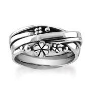 Rabinovich Zilveren Ring met Bloemen