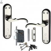 Atom Mercury Steel Made Mortise Handle Set with Double Stage Lock (3 keys) Black Silver Finish (Size 7 inches) full lock Set