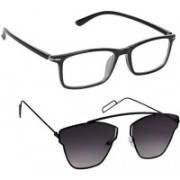 KHR Butterfly, Rectangular Sunglasses(Clear, Grey)