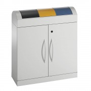 Afvalsorteersysteem van plaatstaal, verzinkt en met poedercoating, inhoud 3 x 45 l, h x b x d = 975 x 860 x 320 mm