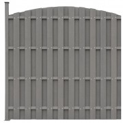 vidaXL Panou de gard WPC cu 1 stâlp, curbat, gri 180x(165-180) cm