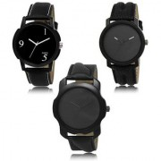 MACRON W-471 Latest Designed New Stylish Watch Combo Watch Black Dial And Black belt Watch Pack of 3