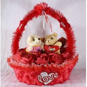 Beautiful Red Basket of Imported Roses with Love Couple Teddy Bears
