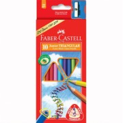 Creioane Colorate Junior Grip 10 culori + Ascutitoare Faber-Castell