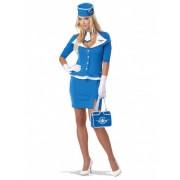 Vegaoo Blaues Stewardess-Kostüm für Damen