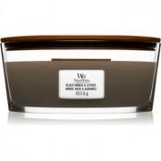 Woodwick Black Amber & Citrus lumânare parfumată cu fitil din lemn (hearthwick) 453,6 g