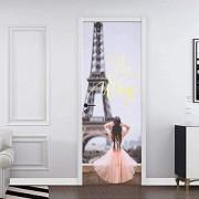 LeiDyWer Decoración de la etiqueta de la puerta Pegatinas de decoración del hogar Pegatinas de puerta extraíbles a prueba de agua Pegatinas de pared77cm(W)*200cm(H)