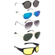 Marc Jones Round, Aviator, Wrap-around Sunglasses(Black, Blue, Grey, Green, Yellow)