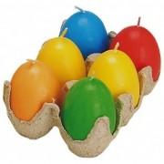 Gekleurde paaseieren kaarsen 6 stuks